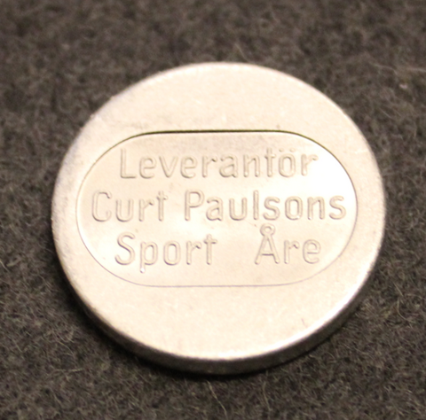 Leverantör Curt Paulsons Sport, Åre. Skilift coin. Various stamps