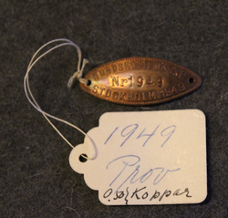 Hundskattemärke, Stockholm 1949, dog tax tag, proof