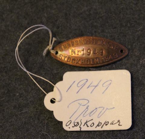 Hundskattemärke, Stockholm 1949, koiraveromerkki, proof