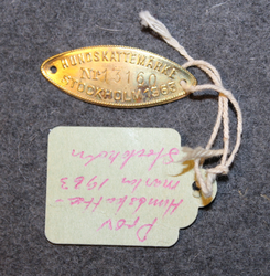 Hundskattemärke, Stockholm 1963, dog tax tag, proof