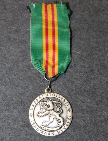 Silver Medal of merit for Volunteer Defence. 925 silver