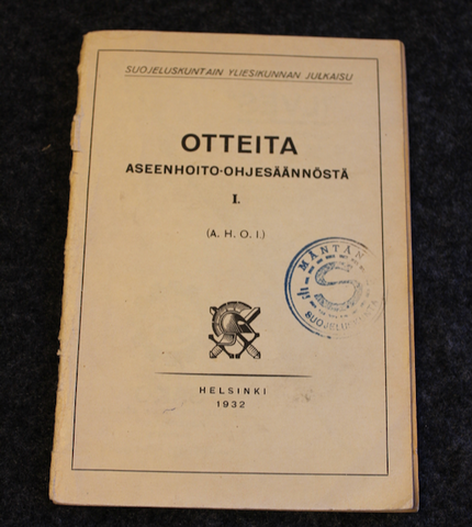 Gun Maintenance regulations. Finnish Home guard, 1932