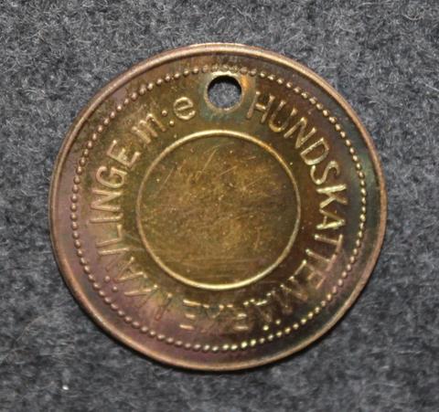 Kävlinge m:e Hundskattemärke, 1920 luku. Koiraveromerkki