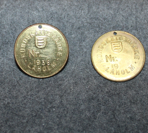 Hundskattemärke Laholm, 1936 / 19xx. Dog tax tag