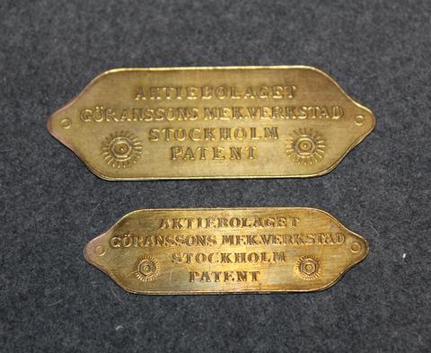 Aktiebolag Göranssons Mek. Verkstad, Stockholm, Patent