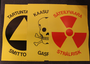 CIv. Def. warning signs, radiation, gas, and biohazard.