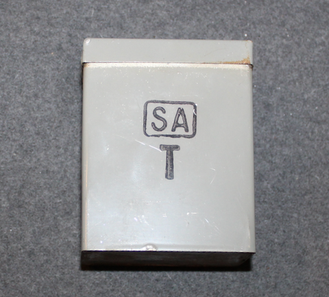 Utility box, green / gray. Finnish army. Old stamps.