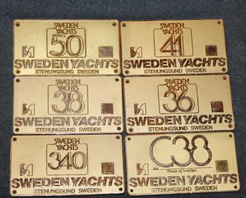 Leisure ship model plate. Sweden Yachts, Stenungsund, Sweden.