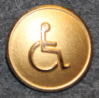 International Symbol of Access ISA ( wheelchair ) 24mm, gilt
