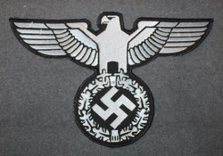Reichsadler, 3rd reich emblem. 30x19cm Silver on Black, sew on patch