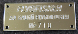 Malmö Flygindustri, MFI, Flygfisken, Motorboat label. Nickel