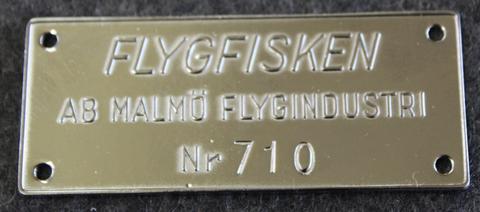 Malmö Flygindustri, MFI, Flygfisken, Moottoriveneen kilpi. Nikkeli