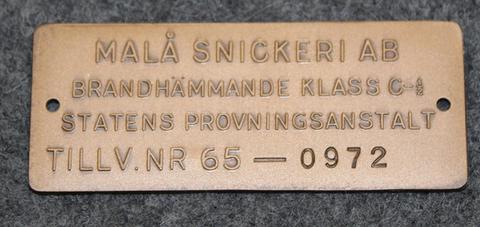 Malå Snickeri Ab. Puusepäntehdas.