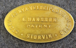 Storviks Nya Velocipedverkstad, Storvik, A. Hansson Patent. Polkupyörätehdas