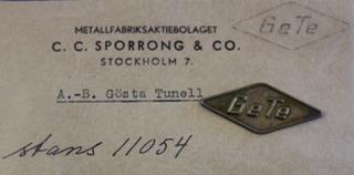 Gösta Tunell AB, Ge Te, auton osien valmistaja.