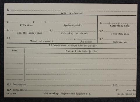 Armeijan kutsuntakortti, v. 1945, kirjoittamaton.