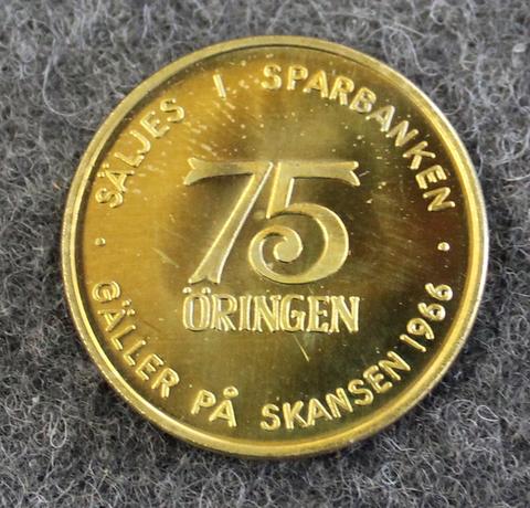 Skansen 75år, säljes i sparbanken, ulkoilmamuseo ja eläintarha, 75v juhlakolikko