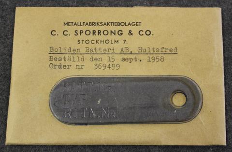 Boliden Batteri AB, Hultsfre, Märkbricka.