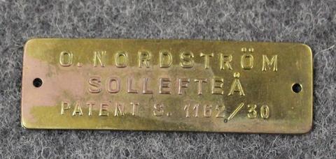 O. Nordström Sollefteå, Patent s. 1162/30