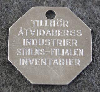 AB Åtvidabergs Industrier, laskukoneiden valmistaja. Inventarier