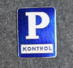 P Kontrol. Tanskalainen pysäköinninvalvoja ( poliisi ), lakkimerkki