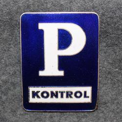 P Kontrol. Tanskalainen pysäköinninvalvoja ( poliisi ), lakkimerkki, iso