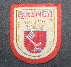 Bremen, matkamuisto kangasmerkki, huopa.