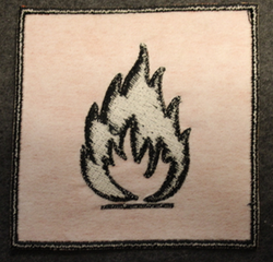 Flammable, sew on patch