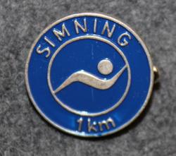 Simning 1km,  Svenska Livräddningssällskapet. Swimming merit, Swedish Life Saving Society