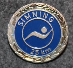 Simning 25km,  Svenska Livräddningssällskapet. Swimming merit, Swedish Life Saving Society