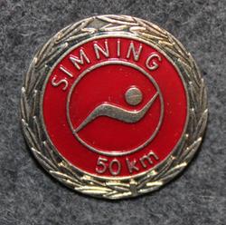 Simning 50km,  Svenska Livräddningssällskapet. Swimming merit, Swedish Life Saving Society