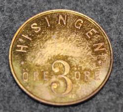 Hisingen 3 Öre, Public trasport token. Brass