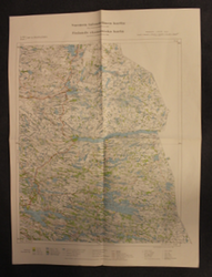 Finnish WW2 map,  XIV:11, Paanajärvi, lost in 1940 peace.