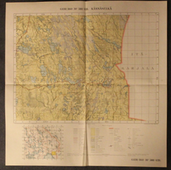 Finnish pre WW2 map, Karelia 6830/860 Käsnäselkä, north from lake Laatokka