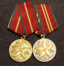 CCCP 2 medal bar. 10 + 15 years For Impeccable Service, in ministry of interior ( Militsiya )