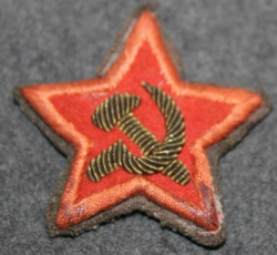 CCCP Red Army Commissar Sleeve Star, Bullion Embroided canvas, WW2