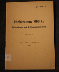 Dieselramme 600kg, pile driver manual, German Army 1942