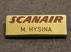 Scanair, airlines name tag.
