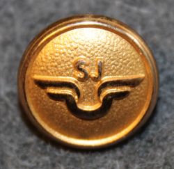 Statens Järnvägar, SJ, Swedish government railways. 14mm gilt