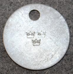 Kungliga Krigsmaterialverket. Royal swedish warmaterial administration. 3 crowns stamp.