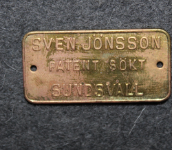Sven Jönsson, Patent Sökt, Sundsvall.