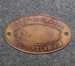 Kärrplatsmärke, Stockholm. Kärryparkkimerkki, 1920 luku