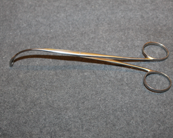 Surgical membrane pincers, long, curved.