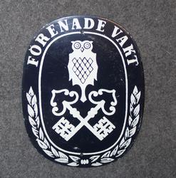 Förenade vakt AB, sign for guarded premises. 95x75mm LAST IN STOCK