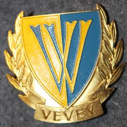Kypärämerkki, sveitsin poliisi. Stadtpolizei Vevey