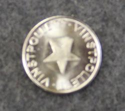 Nöjesautomater Farsta, vinstpollett. Slotmachine coin.