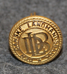 Den Danske Landmandsbank DLB, danish bank, 16mm, gilt, cap button