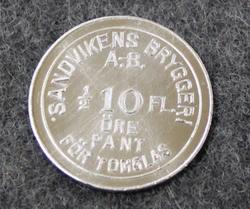 Sandvikens Bryggeri 10 Öre Pant. Panimo
