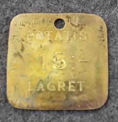 KSF Konsumentföreningen Stockholm potatis 15:- Lagret. Consumer Co-op, potato coin