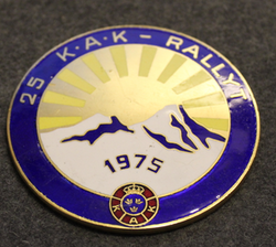 25 KAK - RALLYT 1975. SwedishRoyal Automobile Club badge. 25th anniversary rally.